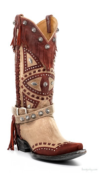 L2249-3-SS OLD GRINGO BUHO BONE / RED LEATHER FRINGE COWGIRL BOOTS