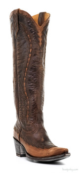 "L2306-5-SS OLD GRINGO OJAI 18"" BRASS/ORYX LEATHER COWGIRL BOOTS"