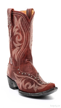 "L1315-1-SS OLD GRINGO MARCELINA RED 10"" STUDDED COWGIRL BOOTS"