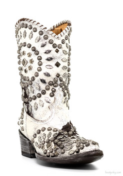 """L 930-3-RR OLD GRINGO TINO TINO WHITE / BROWN STUDDED 10"""" COWGIRL BOOTS"""