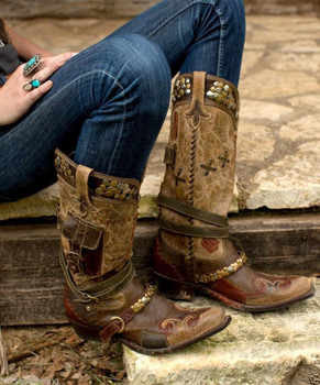 DDL004-1 Double D Ranch Lane Frontier Trapper Western Leather Cowgirl Boots