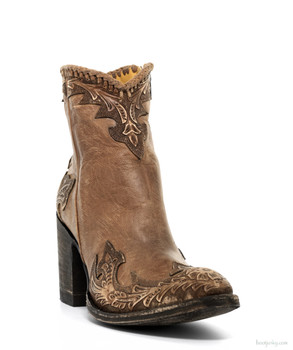 BL 473-15 OLD GRINGO VENICE TAN HAND TOOLED ANKLE BOOTS