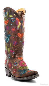 "L2476-1-SS OLD GRINGO PAJARO 13"" BRASS EMBROIDERED COWGIRL BOOTS"