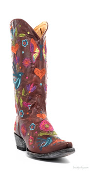 "L2476-2-SS OLD GRINGO PAJARO 13"" RED EMBROIDERED COWGIRL BOOTS"