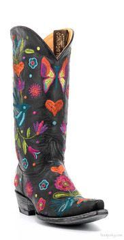 "L2476-3-SS OLD GRINGO PAJARO 13"" BLACK EMBROIDERED COWGIRL BOOTS"
