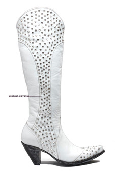 "L1785-1-RR OLD GRINGO DIANA DISTRESSED WHITE LEATHER 18"" CRYSTAL STUDDED WEDDING BOOT"