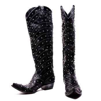 L 675-1 OLD GRINGO HOSIFOOKAMI TALL RIVETED MIDNIGHT BLACK LEATHER BOOTS CUSTOM ORDER