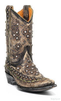 "L2644-2-SS OLD GRINGO LS GYPSY 10"" DISTRESSED BLACK COWGIRL BOOTS"