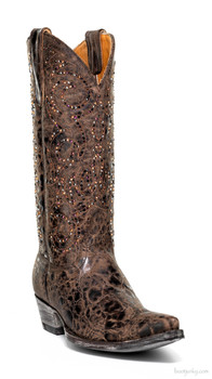 "L2646-1-SS MARSELL CRYSTAL 13"" CHOCOLATE SWAROVSKI COWGIRL BOOTS"
