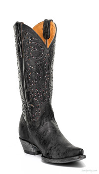"L2646-2-SS OLD GRINGO MARSELL CRYSTAL 13"" BLACK SWAROVSKI COWGIRL BOOTS"
