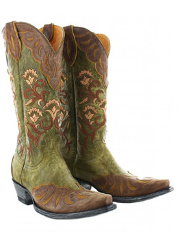 "OLD GRINGO L2477-2 NAOMI MILITARY GREEN-BRASS OVERLAY 13"" WOMENS BOOTS"