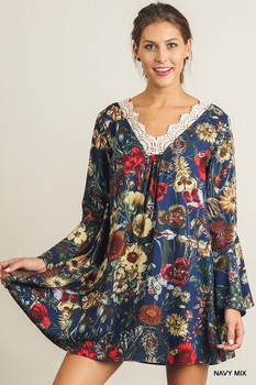 A2636 Umgee Bohemian Cowgirl Floral Print A-Line Dress with a Crochet Neckline Navy