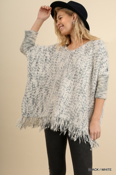 A9820 UMGEEBohemian Cowgirl Chunky Knit Sweater With Frayed Edges Black/White