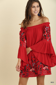 C0531 UMGEE Bohemian Cowgirl Off Shoulder Bell Sleeve Dress with Floral Embroidery Red
