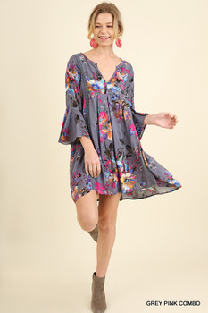 G1099 UMGEE Bohemian Cowgirl Floral Baby Doll Dress with Bell Sleeves Grey/Pink