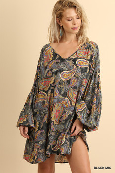 N4063 UMGEE Bohemian Cowgirl Puff Sleeve Scoop Neck Dress with a Paisley Graphic Print Black Mix