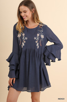 N5036 UMGEE Bohemian Cowgirl Layered Ruffled Sleeve Dress with Floral Embroidery