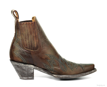 "BL1311-1-SS OLD GRINGO GAUCHO 8"" BRASS / TURQUOISE ANKLE BOOTS"