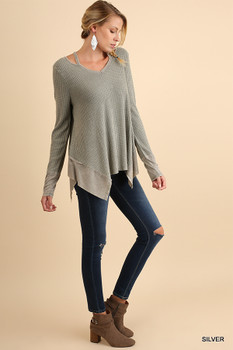 A3596 UMGEE Bohemian Cowgirl V Neck Top with a Sharkbite Hem and Shoulder Cutouts Silver