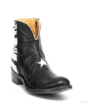 BL1405-5-SS OLD GRINGO HIPPITON STAR BLACK / WHITE ANKLE BOOTS