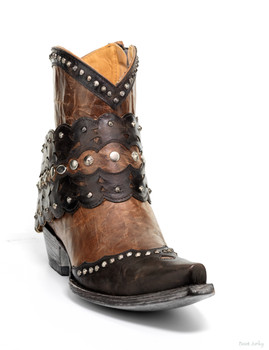 "BL2360-2 OLD GRINGO JERELY 7"" ORYX / CHOCOLATE LEATHER ANKLE BOOTS"