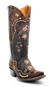 "L 696-10 OLD GRINGO BONNIE PIPIN 13"" BLACK / BONE EMBROIDERED COWGIRL  BOOTS"