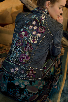 Double D Ranch C2452 Butterfly Bleu Riveted Biker Embroidered Leather Jacket