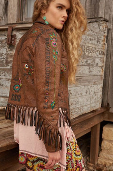 Double D Ranch C2449 Beat of the Tom Tom Distressed Carmel Leather Jacket