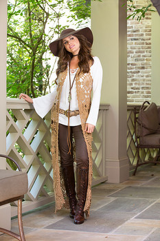 30. BRONTE COLLECTION WOODSTOCK TAUPE OPEN LACE ROMANTIC COWGIRL VEST