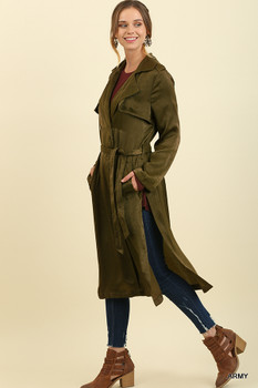 C0785 UMGEE Long Satin Trench Coat with a Waist Tie Army Green