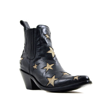 BL2406-1 MEXICANA BY OLD GRINGO CIRCUS JET BLACK GOLD METALLIC ANKLE BOOTS