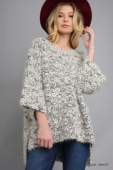 G1063 UMGEE 3/4 Sleeve Sweater with High Low Hemline Black/White