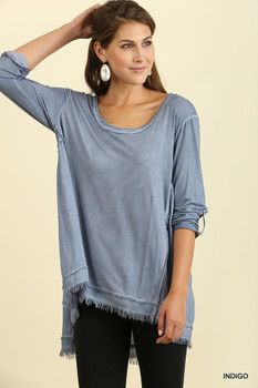 C0826 UMGEE Mineral Washed Frayed Tunic with Roll Up Sleeves and a Woven Back Indigo