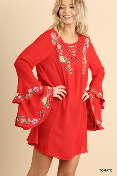 C0911 UMGEE Layered Bell Sleeve Dress with Floral Embroidery and Laced Neckline with Grommets Tomato