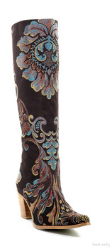 ROCKWELL THARP PASSION RANCH CHOCOLATE TURQUOISE BROCADE KNEE HIGH BOOTS