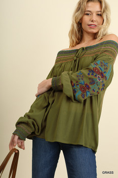 D0011 Off Shoulder Top with Floral Embroidered Long Sleeves and Color Smocked Details