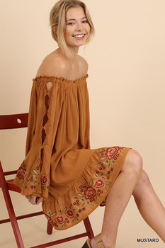 G1246 UMGEE Floral Embroidered Off Shoulder Dress with Cutout Bell Sleeves and a Ruffled Hem Mustard