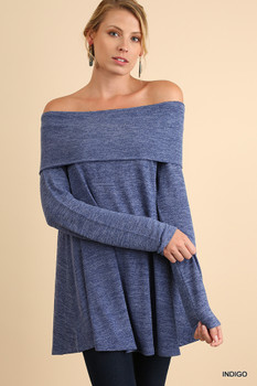 C0941 UMGEE Marled Off Shoulder Long Sleeve Tunic Indigo