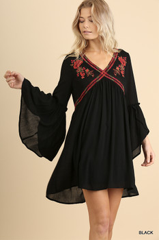 G1284 UMGEE Floral Embroidered V-Neck Dress with Tulip Bell Sleeves Black