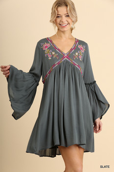G1284 UMGEE Floral Embroidered V-Neck Dress with Tulip Bell Sleeves Slate