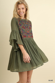 C0384 UMGEE Bell Sleeve Dress with Floral Embroidered Front and Back Keyhole