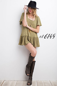 ET6149 Easel  2TONE TIARA KNIT RUFFLED BOTTOM KNIT BABYDOLL TOP Mustard