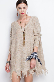 ET7909 EASEL DISTRESSED LOOSE FIT SWEATER OATMEAL