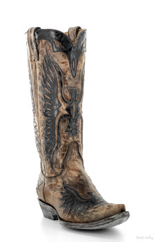 L 105-63 OLD GRINGO EAGLE BRASS / BLACK COWGIRL BOOTS