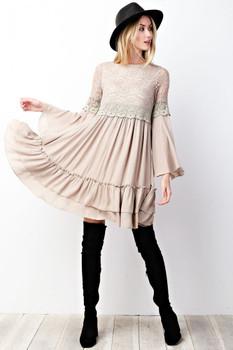 ED3756 Easel Textured Gauze Bohemian Cowgirl Chai Tea Lace Dress
