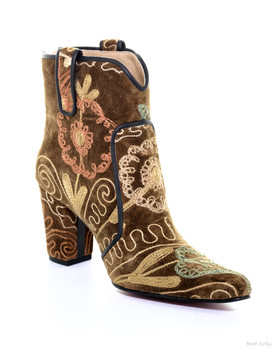 ROCKWELL THARP URBAN SAFARI  ARTISTIC EMBROIDERED ONE OF A  KIND ANKLE BOOT
