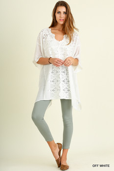 A2454 UMGEE Oversize Tunic With Lace Off White