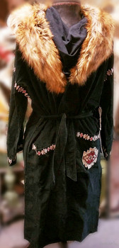 Double D Ranchwear Ropa Vieja Black Duster with Removable Fur Collar