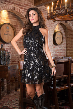 BRONTE COLLECTION MARLA HOLIDAY BLACK AND SILVER PARTY DRESS