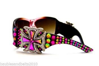 Western Cowgirl Concho Sunglasses Using Swarovski Elements Crystal Rhinestones
